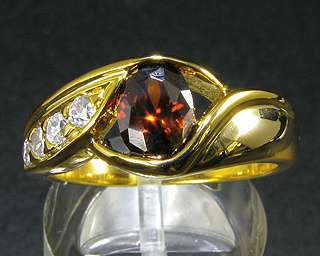 5mm Red Garnet Fine Topaz Stone Yellow Gold GP Ring 7