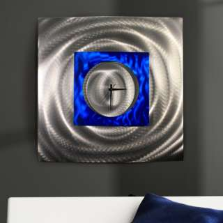 Large Blue/Silver Modern Abstract Metal Wall Art Sculpture Water