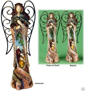 Christmas Nativity Angel Figure Metal Wings NEW 9 H