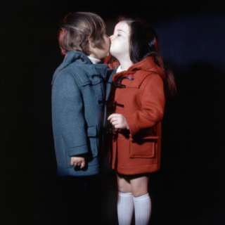 Retro Boy and Girl Kissing, 1970s, Duffel Coat, Winter Photographic