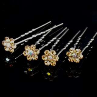 4 bridal flower rhinestone crystal Hair Pin fork bridal