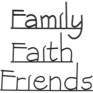 Metal Word Set   Faith, Family, Friends Decor