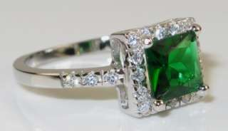 Princess Cut Emerald & White Sapphire 925 Sterling Ring 3.4g