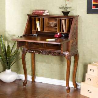 Wood Hand Carved Secretary Desk Cherry Writing HO2422T