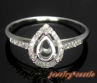 14K WHITE GOLD 7x5 PEAR CUT SEMI MOUNT NATURAL DIAMOND RING