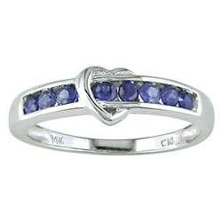 14 kt. White Gold Sapphire Heart Ring