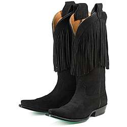 Lane Boots Womens Fringe of Night Suede Mid calf Boots