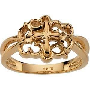 Ring 14K Yellow Gold Cross Ring Jewelry