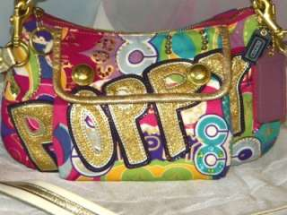 COACH POPPY POP C HOBO GROOVY OP ART Signature Bag 15325 Glitter Glam