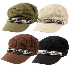 Womens Military Studded Rhinestone Cadet Cap Hat 601HT