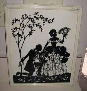 Vtg* Pr Reverse Painting on Glass Framed Silhouettes Deltex Bklyn The