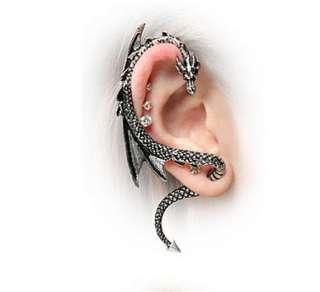 Gothic Punk Rock Temptation Metal Curve Dragon Stud Ear Cuff Wrap
