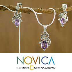 Sterling Silver Wisteria Amethyst Jewelry Set (India)