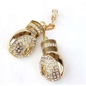 Iced Floyd Mayweather Boxing Gloves Dangling Pendant Gold