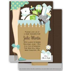 Boy Baby Shower Invitations   Baby Boy Gift Bag Baby Shower Invitation