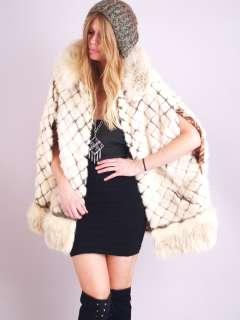 Vtg ART DECO MINK FOX Fur Leather Dress Huge Collar Jacket Swing CAPE