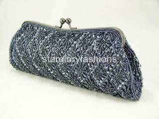 Silver Gray Beaded Sequined Evening Bag/Clutch/Purse