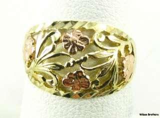 FLOWER RING   10k Yellow Rose Gold Estate Fashion