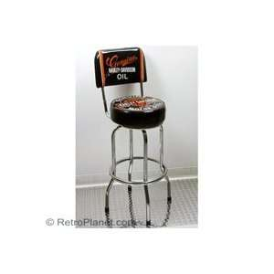 Harley Davidson Oil Can Bar Stool with Backrest