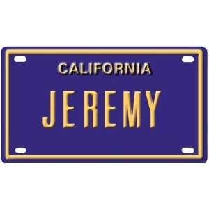Jeremy Mini Personalized California License Plate