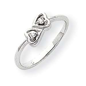 14kt White Gold Promise Heart Ring with Diamond Accents