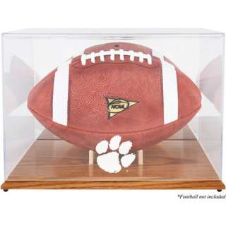 NCAA   Clemson Tigers Team Logo Football Display Case  Details Oak