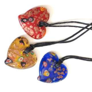 Heart Shaped Glass Pendant Necklace Orientic Japanies China Kids