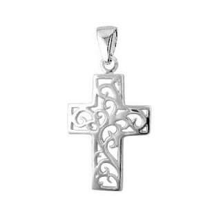 Sterling Silver 925 Cut Out Cross Pendant Necklace