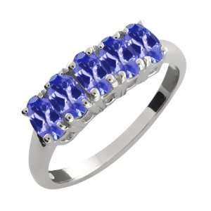 Ct Genuine Oval Blue Tanzanite Gemstone Sterling Silver Ring Jewelry