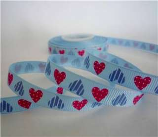 blue heart valentine grosgrain RIBBON lot 5 yards
