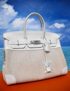ROYAL WHITE* HERMES BIRKIN BAG SWIFT TOILE 35 BNIB