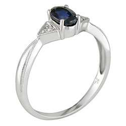 14k White Gold Diamond Blue Sapphire Ring (Set of 3)