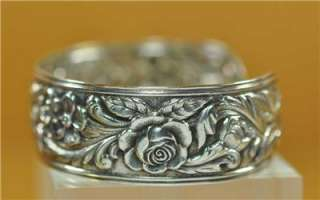 RARE Antique S Kirk & Sons Repousse Sterling Silver Cuff Bracelet WOW
