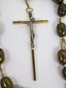 Vintage Large Rosary Beads Brass & Wood Cross Pewter Figure Faux