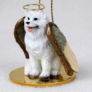 Samoyed Dog Figurine Ornament Angel Statue Hand Painted