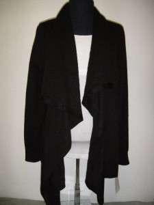 NWT! DKNYC Womens Open Front Drape Cardigan DKNY Long Sleeve BLACK Sz