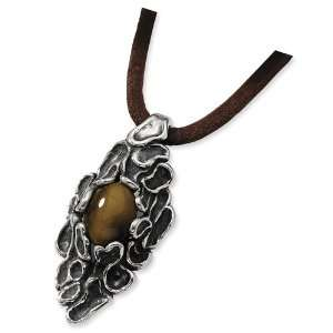 Silver Antiqued Tigers Eye Pendant 20in Leather Necklace Jewelry