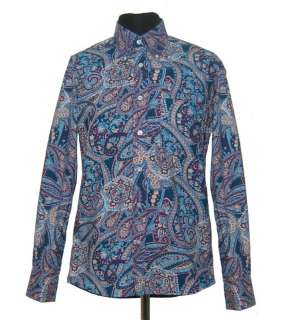 Mens Retro Blue Paisley Tailored Shirt Long Sleeve New
