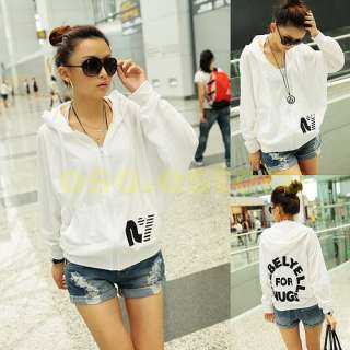 Chic Girls Letter Prints Bat wing Zipper White Thinness Hoodie Coat