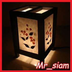 Asian Oriental Table Lamp chinese RED FLOWER LEAF Style