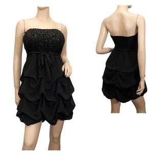 Plus Size Black Sequined Princess Ruffle Dress  eVogues Apparel