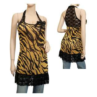Plus size Animal Print Lace Back Tunic Top Yellow  eVogues Apparel