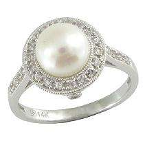 Cultured Pearl & White Sapphire Ring in 14K White Gold