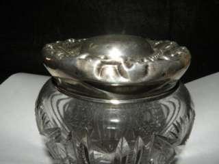 ANTIQUE AMERICAN BRILLIANT CUT GLASS DRESSER JAR WITH STERLING