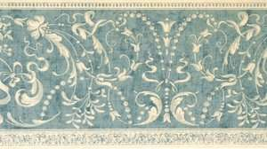 French Country Blue Ribbons & Pearls Wallpaper Border