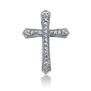 Gold Round Diamond Pave Set Milgrain Cross Pendant (0.84ct) Jewelry
