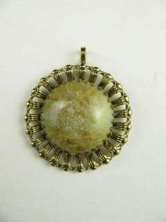Estate Jewelry Connemara Marble Stone Gold Plate Pendant