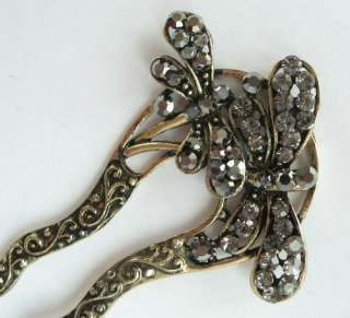 COLORS SWAROVSKI CRYSTAL BRONZE DRAGONFLY HAIR STICK PIN 335