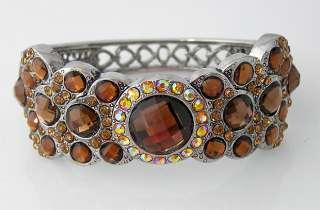 Brown swarovski crystal Bracelet Bangle Cuff B113