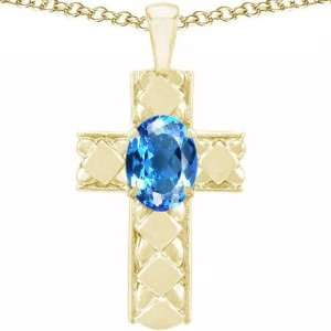 Gold Genuine Oval Blue Topaz Cross Pendant(Metalwhite g Jewelry